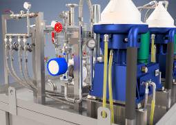 Exemple de skid double de séparation centrifuge Alfa Laval eau huile et particules solides